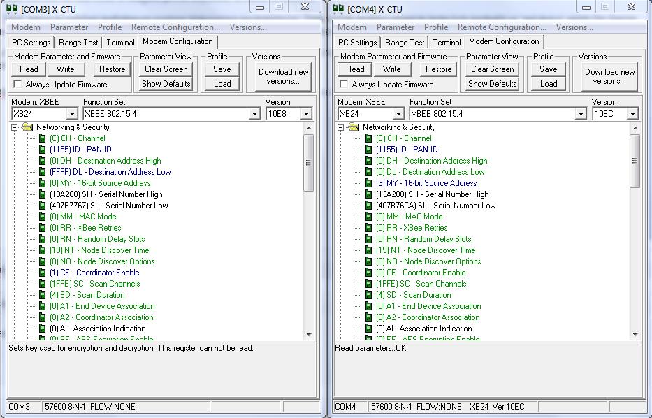X-CTU Modem Configuration