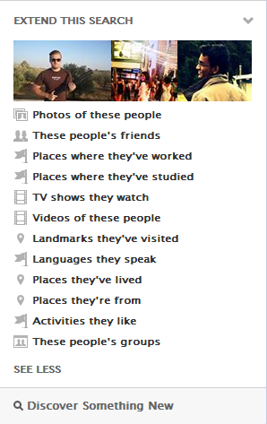 Facebook Graph Search; Extend This Search
